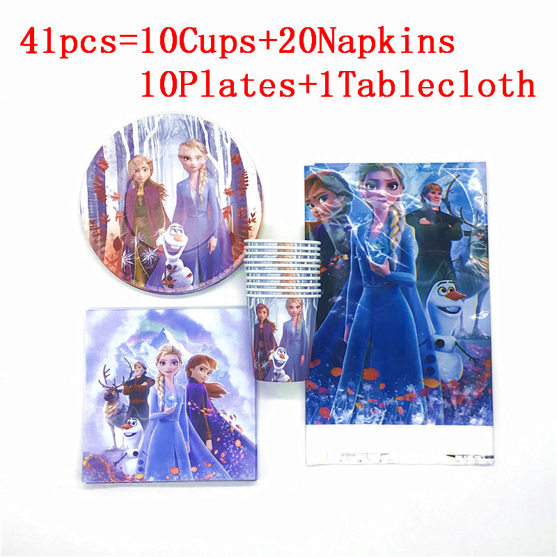 41Pcs Disney New Frozen 2 Anna Elsa Princess Birthday Party Supplies Tablecloth Cup Plates For Kids Favor Baby Shower Birthday