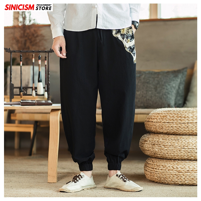 Sinicism Store Men Casual Chinese Style Print Harem Pants Mens 2020 Cotton Linen Loose Trousers Male Ankle-Length Pants Oversize