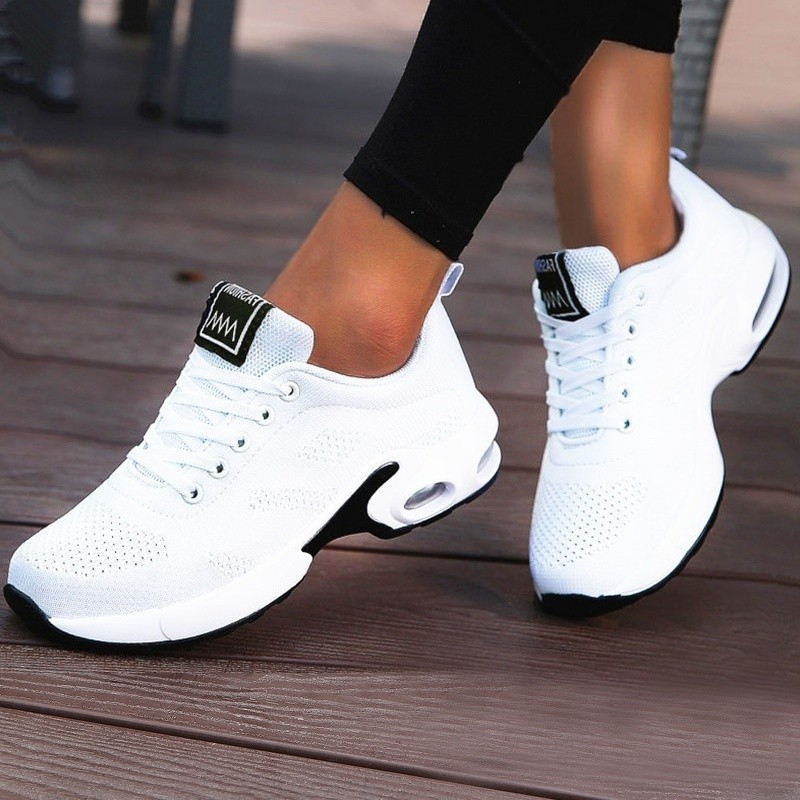 Women Lightweight Sneakers Air Cushion Ladies Trainers Basket Tenis Casual White Platform Flat Sneakers Breathable Mesh Comfort 1