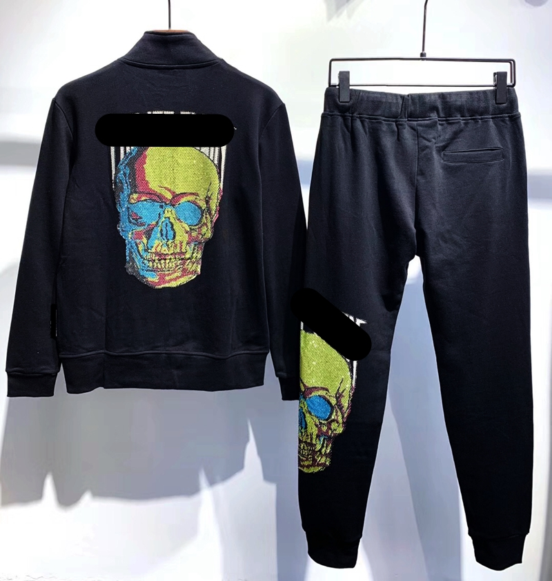 New Men's Style Cotton Stand-up Collar Leisure Suit With Diamond-encrusted Skull And Skull At The Back