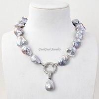 GG Jewelry 20 Purple Lanvedar Keshi Pearl Necklace CZ Pendant