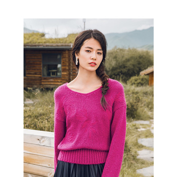 INMAN Autumn Winter New Arrival V-neck Elegant Embroidered Loose Dropped Shoulder Long Sleeve Pullover - discount item  64% OFF Sweaters
