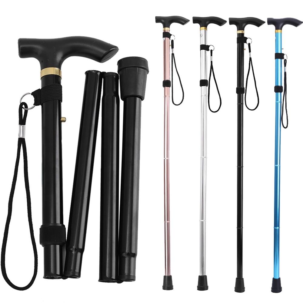 Outdoor Walking Stick Telescopic Baton Hiking Trekking Poles Five-section Non Slip Crutches Foldable Walking Defense Cane Stick
