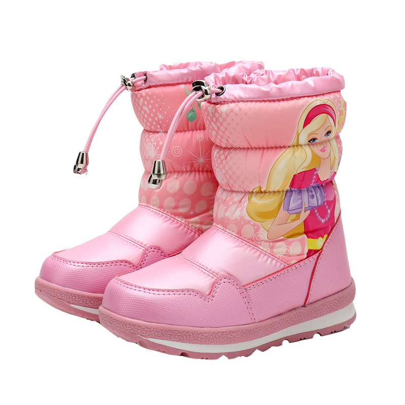 New Winter Waterproof Children Boots Girls Beautiful High Snow Boots Princess Cartoon Boots With Thick Wool Warm -25 Degree