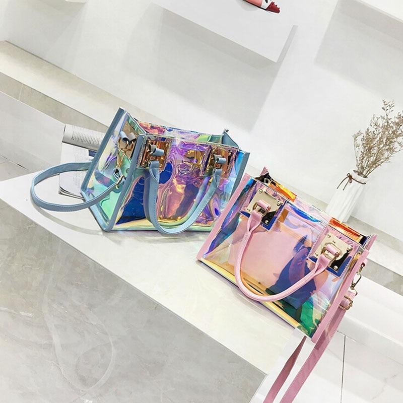 2019 New Women Handbags Transparent Messenger Bag Laser Fashion Crossbody Shoulder Composite