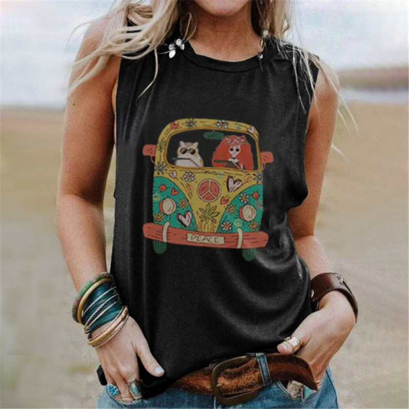 2021 New Women S 5XL Sleeveless Cartoon Printed Vintage Tshirts O Neck Cute Loose Tee Tops Female Summer Casual T Shirts Clothes
