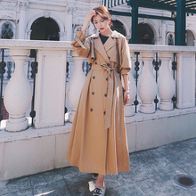 Elegant Women Trench Coat Dress Double Breasted Long Khaki Lady Cloak Outerwear