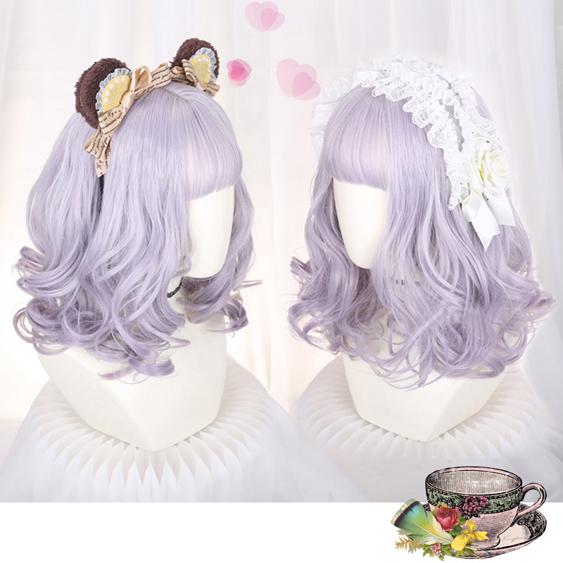European Style Lovely Lolita Cosplay Wigs High-temperature Fiber Synthetic Hair Three Colors Short Curly Hair + Free Hair Cap