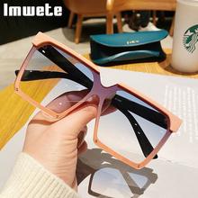 Imwete 2021 Trend Square okulary przeciwsłoneczne damskie Vintage ponadgabarytowe okulary przeciwsłoneczne męskie marka projektant mody Outdoor UV400 kolorowe okulary tanie tanio CN (pochodzenie) WOMEN Dla osób dorosłych Z tworzywa sztucznego NONE MIRROR TYJ9891