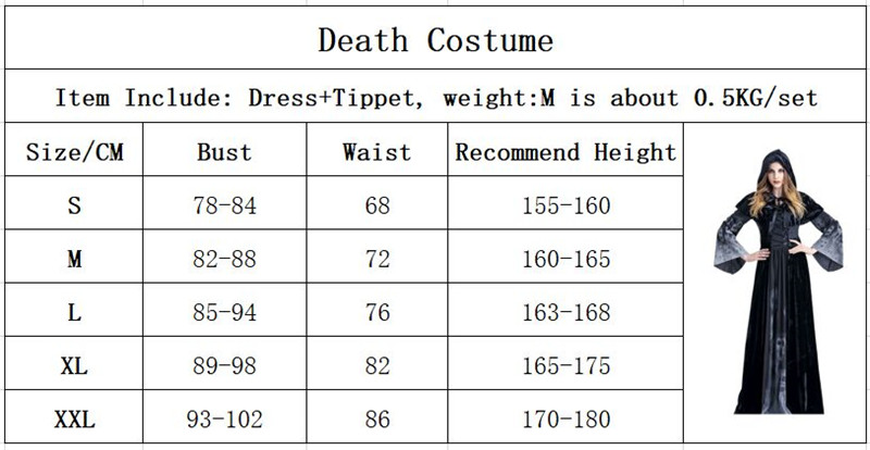 H5b38343452b744a194e21d22cf36f71cK - Horrible Skeleton Vampire Costume Purim Festival Hooded Witch Dress Ghost Demon Wicked Ball Devil Costume Women Scary Costumes