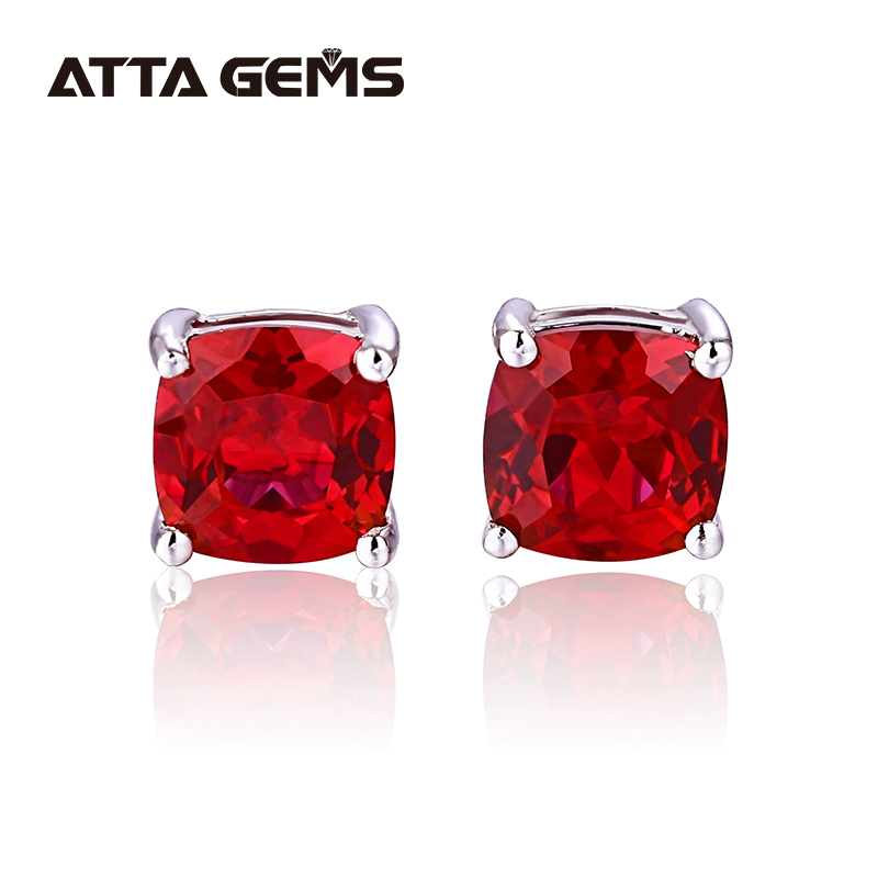 Red Ruby Women Silver Stud Earring Cushion Created Ruby Fashion Women's Sterling Silver Jewelry Wedding And Engagement Earring