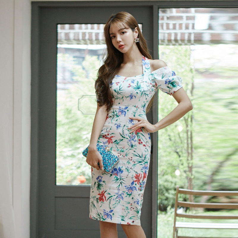 Dress 2020 summer new product ladies ladies fashion temperament Slim print Office Lady  Sleeveless  V-Neck  Knee-Length