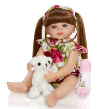 new bebe reborn girl dolls 55cm silicone reborn baby dolls brown long hair princess and fashion clothing set children gift toy