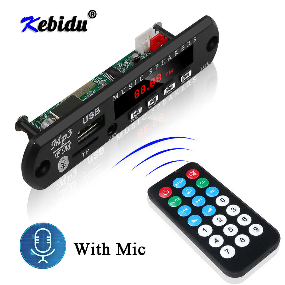 Kebidu bluetooth handfree carro kit mp3 player decodificador placa de rádio fm tf usb 3.5mm aux áudio para o carro para iphone android telefone