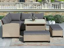 6 In 1 Terrasmeubilair Set 2 X Seat 2 X Bench 1 X Hoekbank 1 X Tafel Combinatie tuinmeubilair Tuin Kit Vs Gratis Shippi(China)