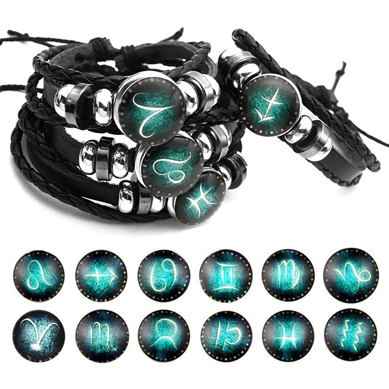 Luminous 12 Constellations Leather Bracelet Zodiac Sign with Beads Charm Braided Bracelets Punk for Boys Men Jewelry Accessories