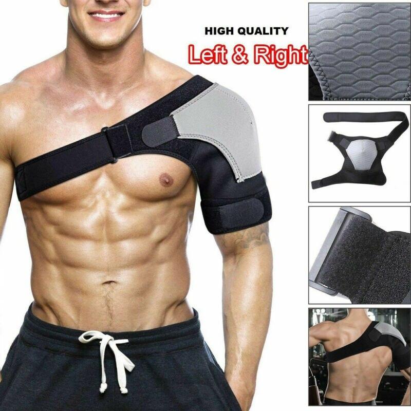 Men/Women Adjustable Breathable Gym Sports Care Single Shoulder Support Back Brace Guard Strap Wrap Belt Band Pads Black Bandage