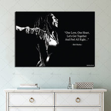 1 Piece Bob Marley Pop Singer Poster Prints Wall Art Canvas Painting White and Black Modular Picture Home Decor for Living Room(China)