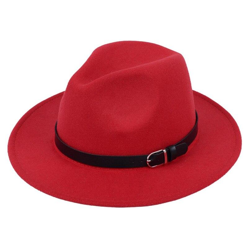 Classic British Fedora Hat Men Women Imitation Woolen Winter Felt Hats Fashion Jazz Hat Chapeau Wholesale 19