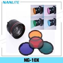 Nanguang NG 10X סטודיו אור פוקוס עדשת בואן הר עבור פלאש Led אור עם 4 צבע מסנן אור סט צילום אבזרים
