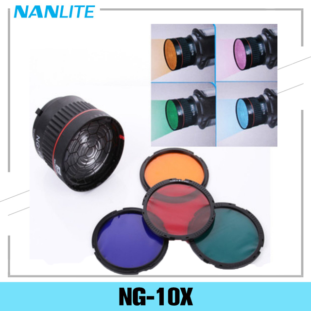 Nanguang NG 10X Studio Light Focus Lens Bowen Mount For Flash Led Light With 4 Color Filter Light Set Photography Accessories