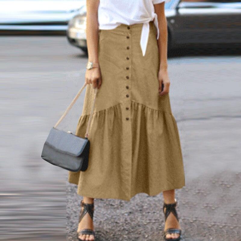Zanzea 2021 Elegant Women Solid Skirt Button Front Highwaist Pleated Long Women Stylish Ankle Length High Waist Skirt Plus Size