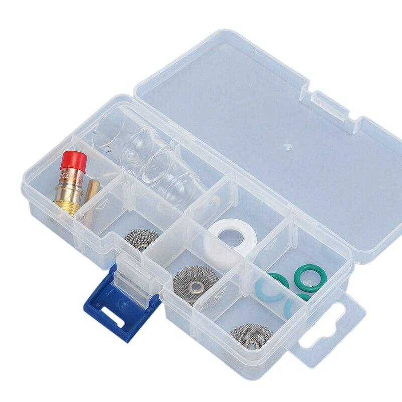 11 Uds Tig soplete de soldadura Stubby Gas lente Pyrex Cup accesorios Kit herramientas para Wp-17/18/26 linternas Gas lente 3/32 pulgadas soldadura trabajo