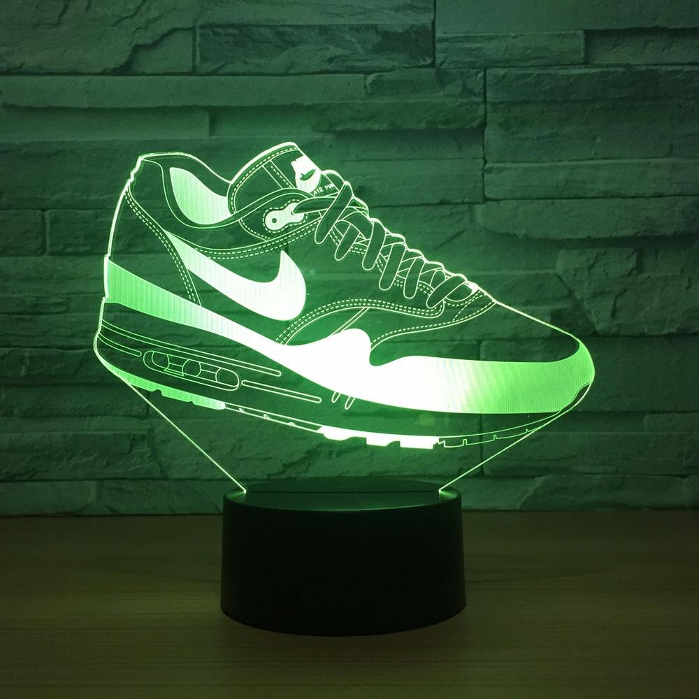 Night Light 3D Sleeping Lamp 7Colors Sneaker Shoes 3D Lamp Nightlight Usb//Battery Operado Led Night Light Lamp Efecto De Luz Visual Regalo Para Adolescentes