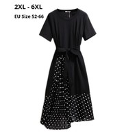 Plus Size 6XL 5XL 4XL 3XL 2XL Women Short Sleeves Summer Dresses OL Black and Dot Fabric Patchwork Dress Slim Irregular Hem Tops