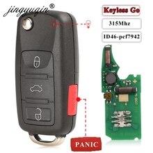 jingyuqin Keyless Go Fob 3+1Panic 4 Buttons 315MHz Flip Remote Key for VW Volkswagen Touareg Phaeton 3D0959753AK ID46 7942 Chip
