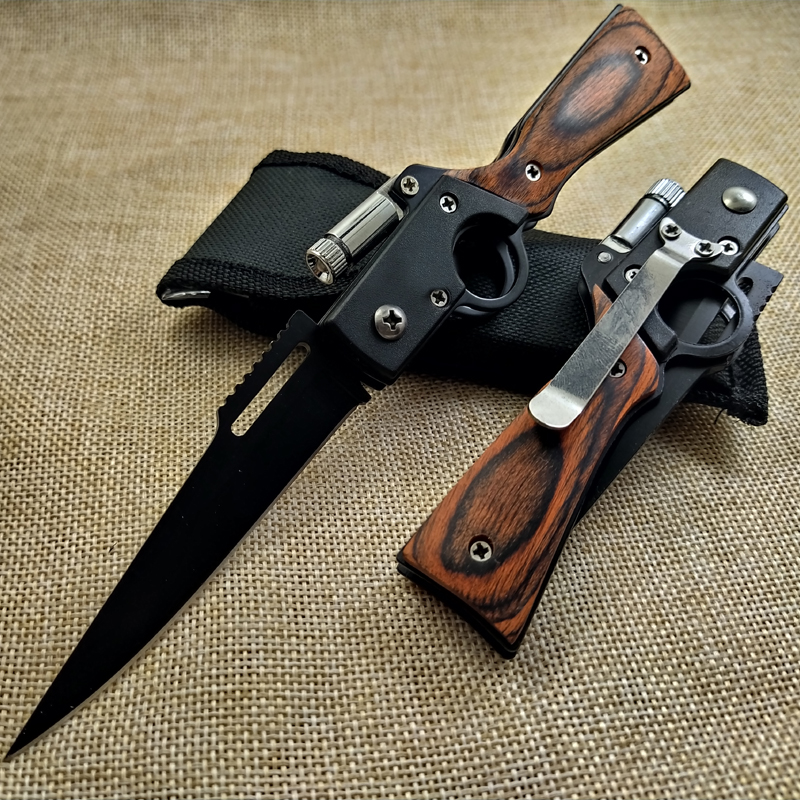 Hunting Knife Folding Knife Pocket Compact Rosewood+steel Tactical Knives Outdoor Camping Hunting Survival Rescue Knife + LED