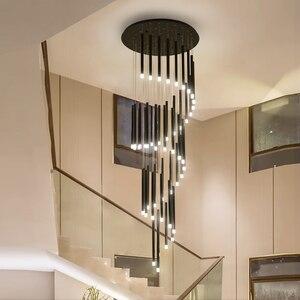 Image 3 - 90 واط 147 واط LED الثريات ل دوامة درج فندق اللوبي طويل الإضاءة تركيبات معلقة الحديد الحديثة ماتي ثريا سوداء مصباح