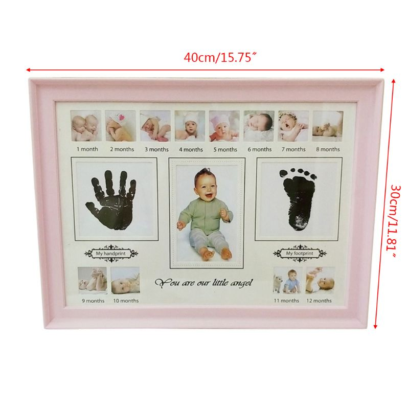 Купить с кэшбэком Baby Handprint Footprint Photo Frame with Stamp Ink Newborn Decor Gift Kids Imprint Hand Inkpad Souvenirs
