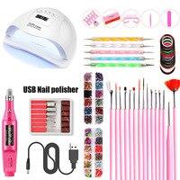 84W LED Lamp Dry Nail Gel Polish Kit Manicure Tools SetNail Drill Machine Nail Kit with Led Nail