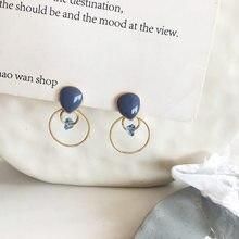 Eenvoudige Koreaanse Meisjes Leuke Blauwe Emaille Oorbellen Geometrie Cirkel Kleine Glas Oorbellen Voor Vrouwen Mode Accessoires Sieraden