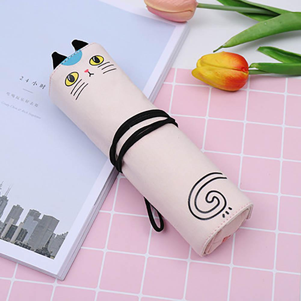 Cartoon Cat Print Stationery Bag Student Canvas Pen Pouch Pencil Case Sturdy