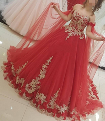 YiMinpwp Red Ball Gown Quinceanera Dresses Off Shoulder Sweep Train Gold Appliques Long Formal Prom Party Gowns for Sweet 16