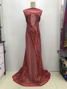 High Quality New African Sequins Lace Fabric 2019 French Net Tulle Nigeria Mesh Embroidered Material Party Dressed JL28521