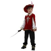 Çocuklar çocuk kırmızı ortaçağ Musketeer kostüm yunan roma savaşçı şövalye kostümleri boys için cadılar bayramı karnaval Mardi Gras süslü elbise