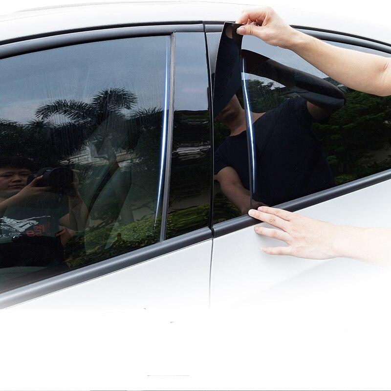 6pcs Glossy PC Window Pillar Sticker Trim Fit For 2008 2009-2018 Chevrolet Captiva Accessories