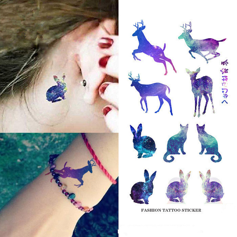 Waterproof Temporary Sticker Cute Animals Flowers Tattoo 3D Black Triangle Horror Tattoos Body Arm Men Fake Tatoos Body Art