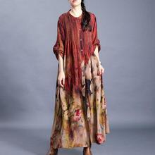 Abrigo largo con estampado de flores Vintage de primavera Otoño de hada Natural con cuello redondo 2020 abrigos pintados sueltos para mujer cómodos de talla grande