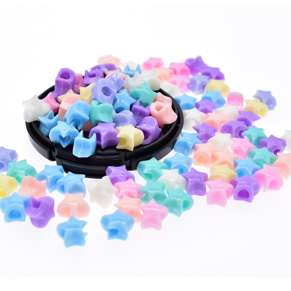 100pcs/bag Acrylic Star Beads 7mm Assorted Candy Color Mix Plastic Pastel Beads Bracelet Kawaii Rainbow Necklace Jewelry Making