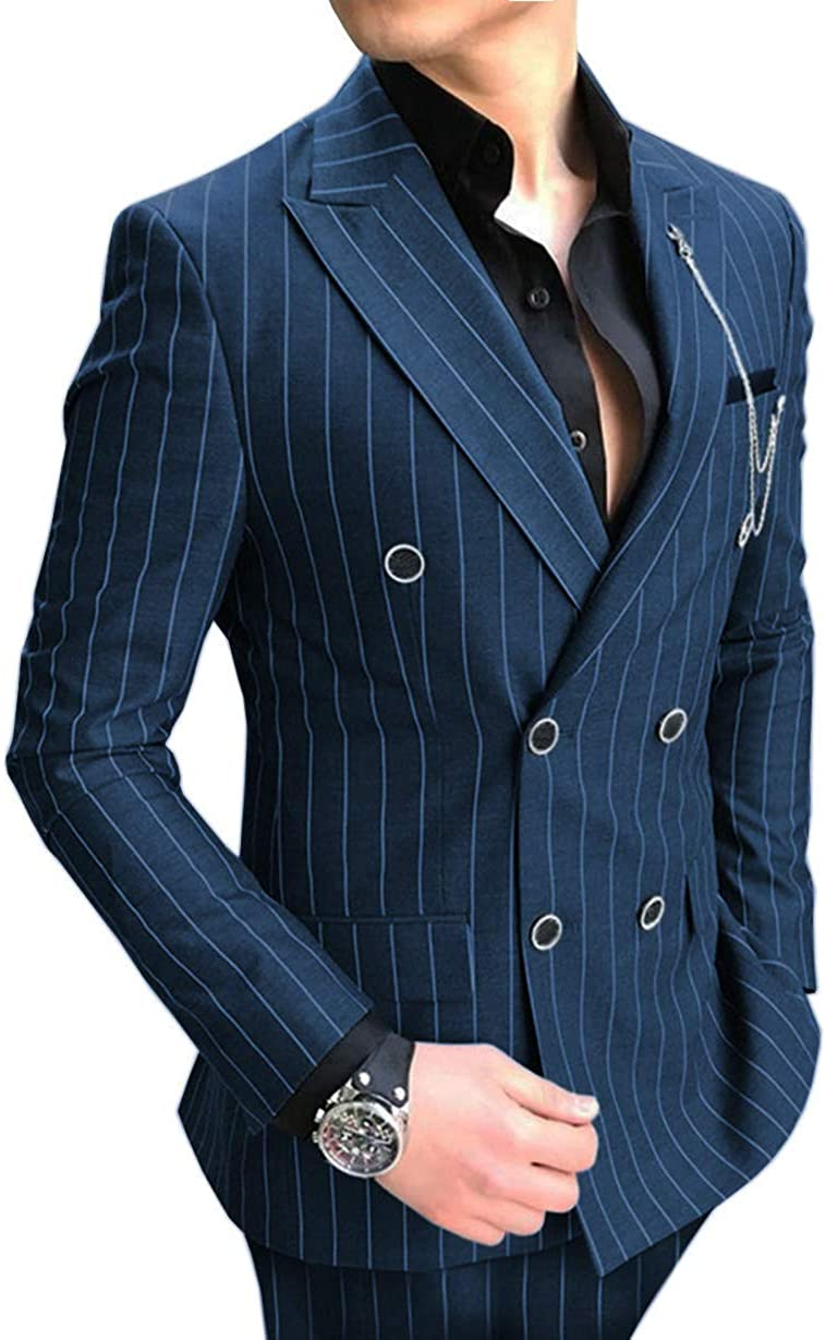 wedding : Formal Mens Suits Regular Fit 2 Piece Wool Prom Classic Striped Double Breasted Suits Grey Tuxedos Business Jacket For Wedding
