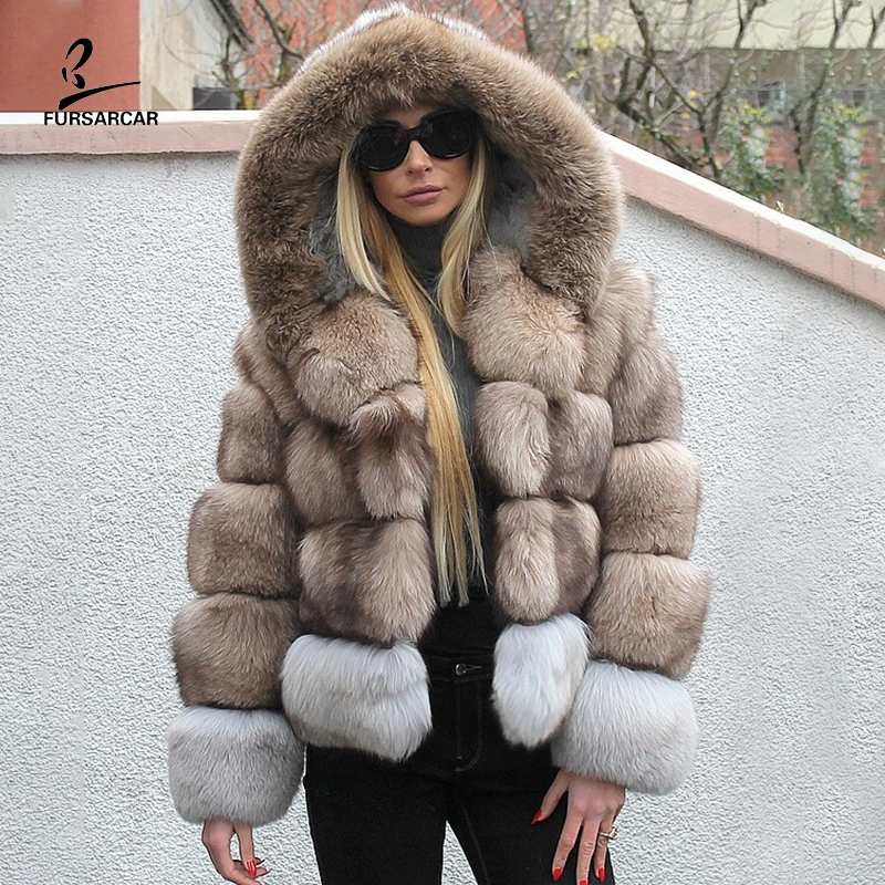 FURSARCAR Beige Blue Fox Fur Winter Coat For Women Winter Hooded Thicken Warm Jacket 2019 New Genuine Natural Real Fur Clothing