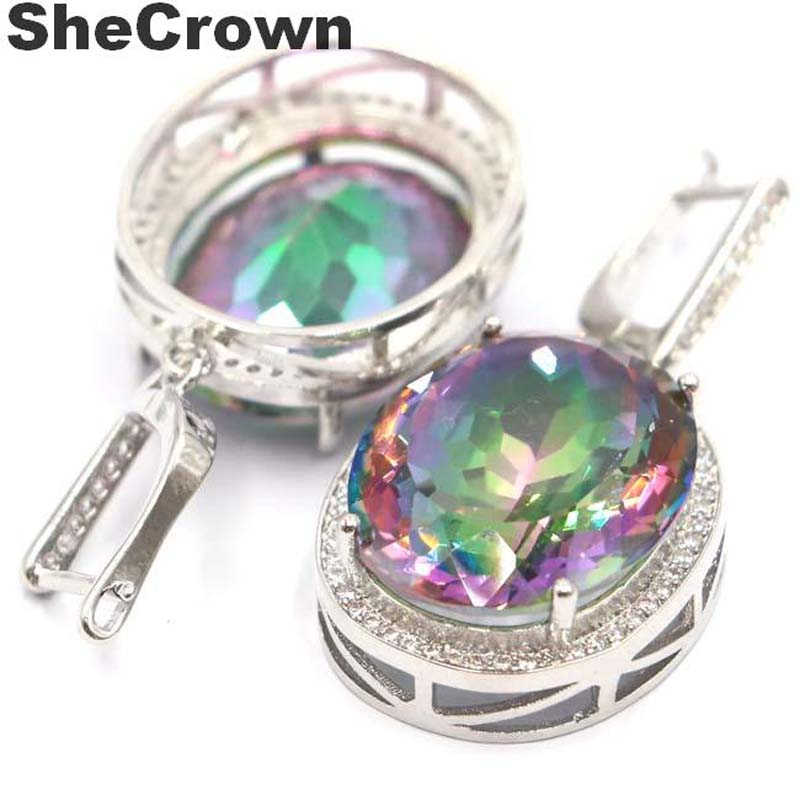 40x20mm Big 17.5g Oval Gemstone 22x18mm Created Fire Rainbow Mystic Topaz White Cubic Zirconia Woman's Party 925 Silver Earrings