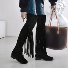 SARAIRIS Fashion 2019 Plus Size 46 Winter Shoes Woman Boots Female Fringe Square Heels Women Shoes Over The Knee Boots Female