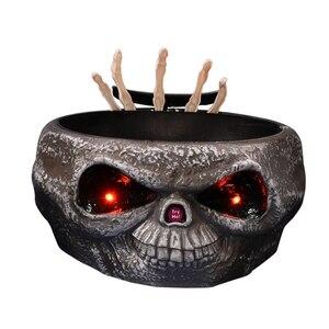 Лучший Хэллоуин игрушечная Беговая железная дорога для конфеты чаша с емкостью для прыжок черепа ручной страшно глаза вечерние жуткий укра...