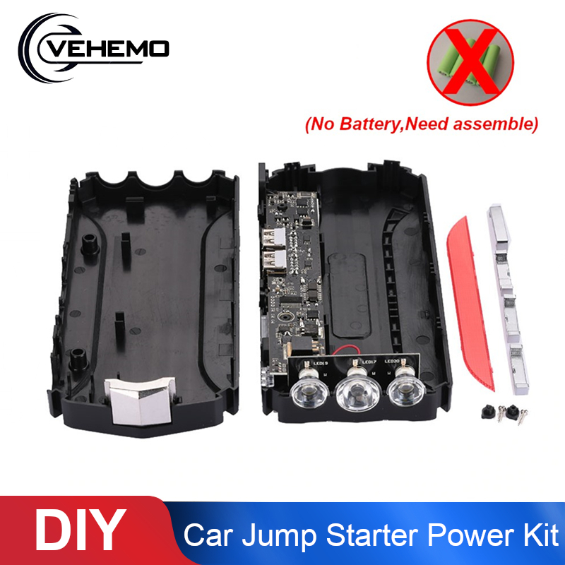 Car Jump Starter Power Kit just shell Auto Emergency Power Bank LED Light USB SOS Booster Charger Power Supply Battery Charger