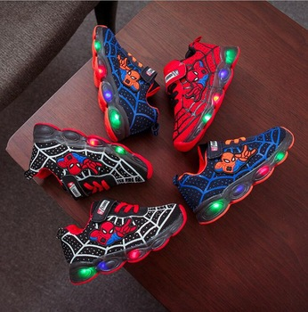 Led luminous Spiderman Kids Shoes for boys girls Light Children Luminous baby Sneakers mesh sport Boy Girl Led Light Shoes